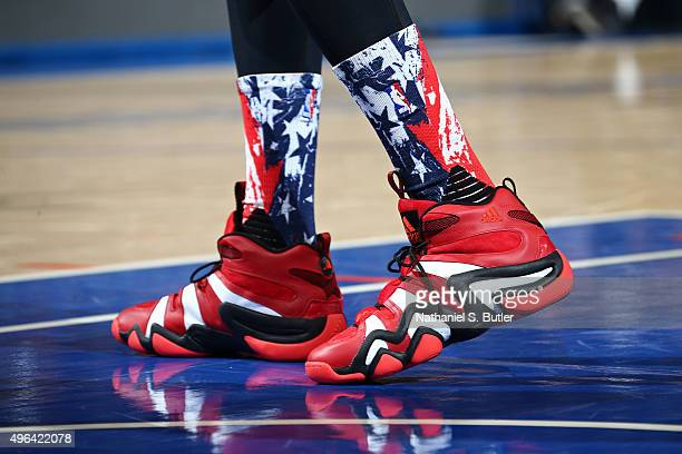The shoes of Nick Young of the Los Angeles Lakers during the game against the New York Knicks on November 8 2015 at Madison Square Garden in New York...