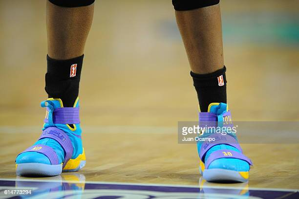 The shoes of Nneka Ogwumike of the Los Angeles Sparks are seen against the Minnesota Lynx during Game Three of the 2016 WNBA Finals on October 14...