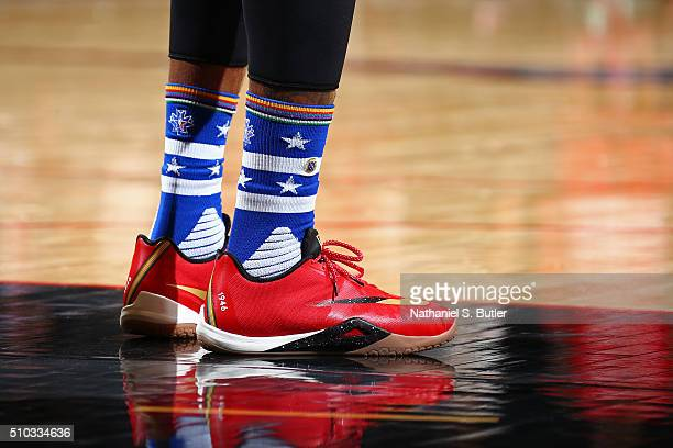 The shoes of Paul George of the Eastern Conference during the NBA AllStar Game as part of 2016 NBA AllStar Weekend on February 14 2016 at the Air...
