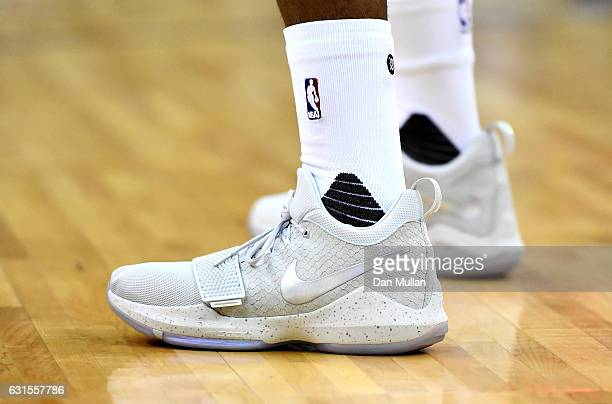 The shoes of Paul George of the Indiana Pacers are seen during the NBA match between Indiana Pacers and Denver Nuggets at the O2 Arena on January 12...