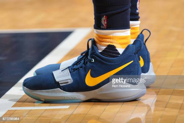 The shoes of Paul George of the Indiana Pacers during Game Four of the Eastern Conference Quarterfinals against the Cleveland Cavaliers of the 2017...