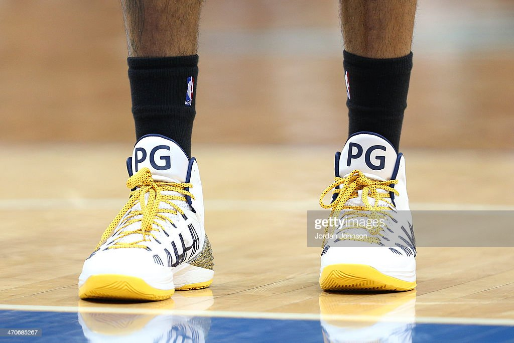 The shoes of Paul George #24 of the Indiana Pacers during the game against the Minnesota Timberwolves on February 19, 2014 at Target Center in Minneapolis, Minnesota.