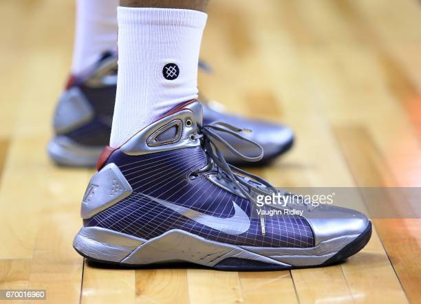 The shoes of PJ Tucker of the Toronto Raptors in the second half of Game Two of the Eastern Conference Quarterfinals against the Milwaukee Bucks...