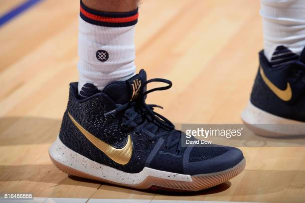 The shoes of Quinn Cook of the New Orleans Pelicans in a game against the Toronto Raptors during the 2017 Las Vegas Summer League on July 7 2017 at...