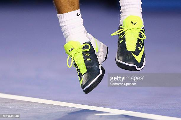 The shoes of Rafael Nadal are seen during his third round match against Dudi Sela of Israel during day five of the 2015 Australian Open at Melbourne...