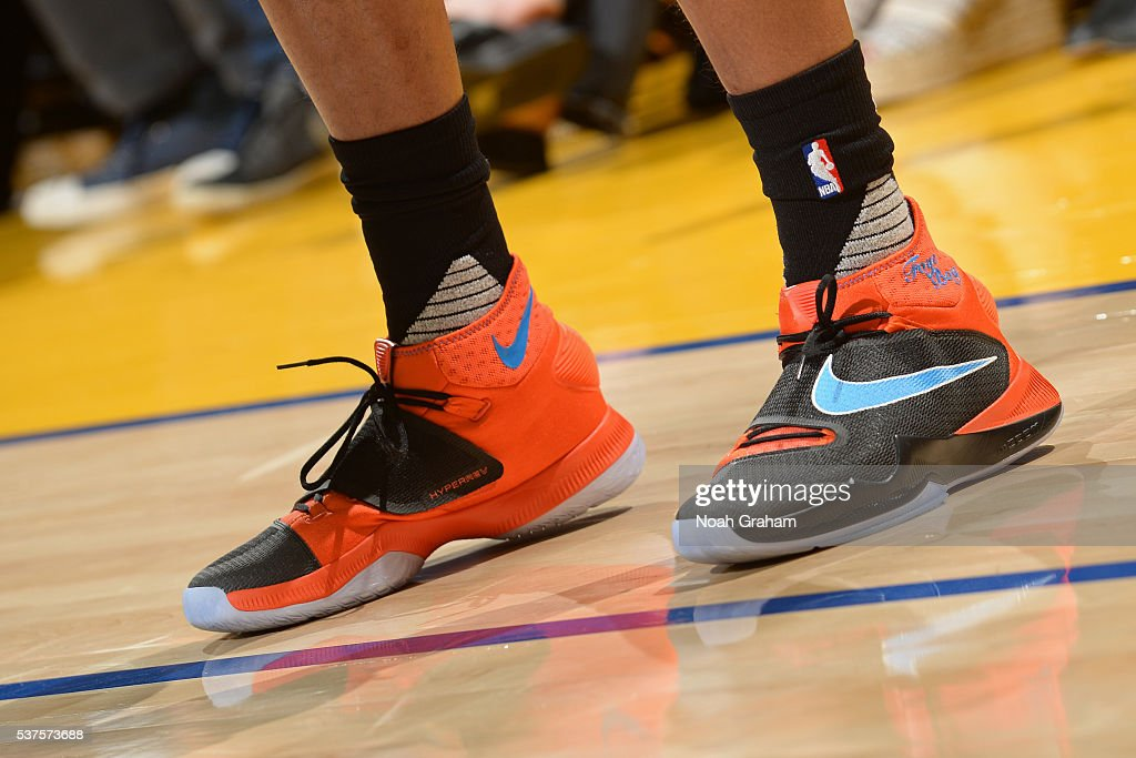 The shoes of <a gi-track='captionPersonalityLinkClicked' href=/galleries/search?phrase=Randy+Foye&family=editorial&specificpeople=240185 ng-click='$event.stopPropagation()'>Randy Foye</a> #6 of the Oklahoma City Thunder in Game Five of the Western Conference Finals against the Golden State Warriors during the 2016 NBA Playoffs on May 26, 2016 at ORACLE Arena in Oakland, California.