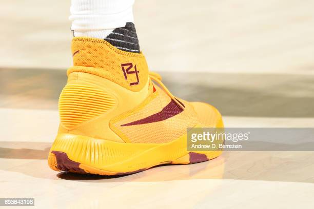 The shoes of Richard Jefferson of the Cleveland Cavaliers in Game Three of the 2017 NBA Finals against the Golden State Warriors on June 7 2017 at...