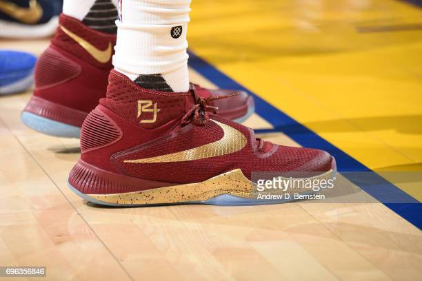 The shoes of Richard Jefferson of the Cleveland Cavaliers in Game One of the 2017 NBA Finals against the Golden State Warriors on June 1 2017 at...