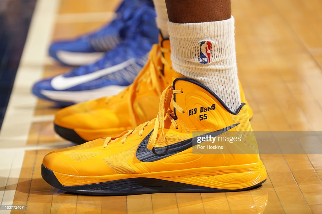 The shoes of <a gi-track='captionPersonalityLinkClicked' href=/galleries/search?phrase=Roy+Hibbert&family=editorial&specificpeople=725128 ng-click='$event.stopPropagation()'>Roy Hibbert</a> #55 of the Indiana Pacers during the game against the Golden State Warriors on February 26, 2013 at Bankers Life Fieldhouse in Indianapolis, Indiana.