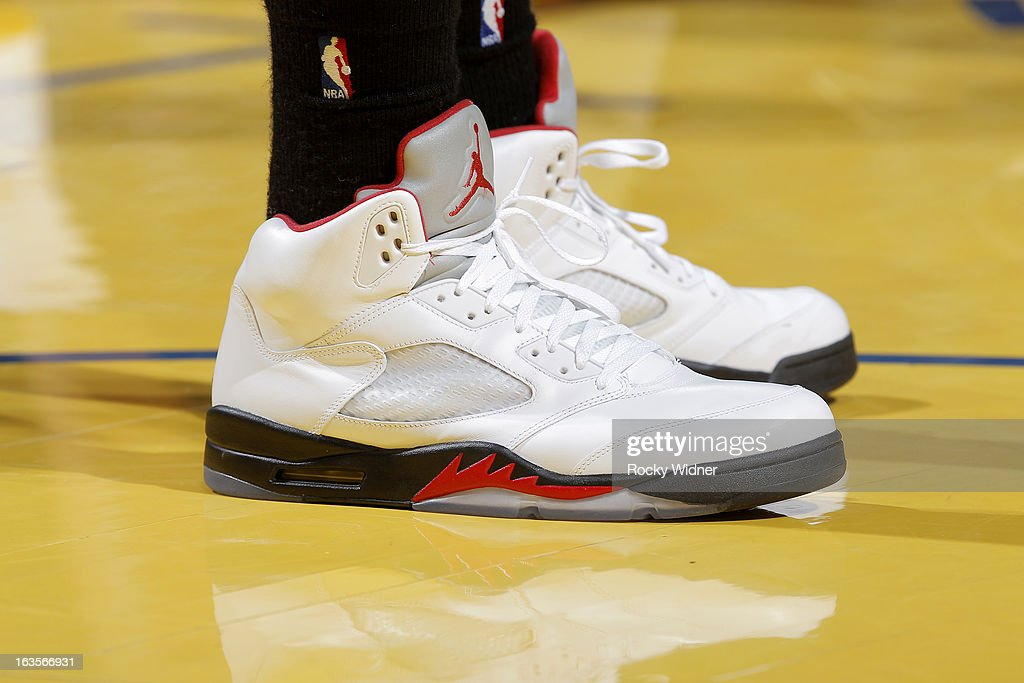 The shoes of <a gi-track='captionPersonalityLinkClicked' href=/galleries/search?phrase=Rudy+Gay&family=editorial&specificpeople=236066 ng-click='$event.stopPropagation()'>Rudy Gay</a> #22 of the Toronto Raptors during a game against the Golden State Warriors on March 4, 2013 at Oracle Arena in Oakland, California.