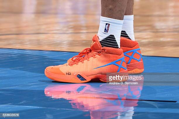 The shoes of Russell Westbrook of the Oklahoma City Thunder are seen during the game against the Golden State Warriors in Game Three of the Western...