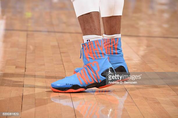 The shoes of Russell Westbrook of the Oklahoma City Thunder are seen during the game against the Golden State Warriors in Game Six of the Western...