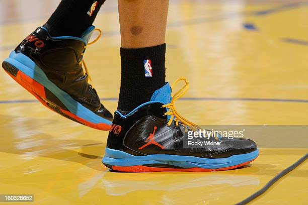 The shoes of Russell Westbrook of the Oklahoma City Thunder during a game against the Golden State Warriors on January 23 2013 at Oracle Arena in...