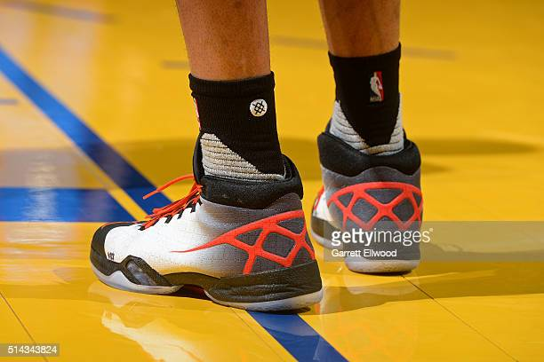 The shoes of Russell Westbrook of the Oklahoma City Thunder during the game against the Golden State Warriors on March 3 2016 at ORACLE Arena in...
