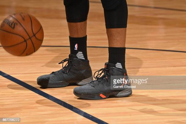 The shoes of Russell Westbrook of the Oklahoma City Thunder during the game against the Denver Nuggets on April 9 2017 at the Pepsi Center in Denver...