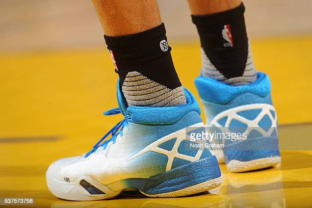 The shoes of Russell Westbrook of the Oklahoma City Thunder in Game Five of the Western Conference Finals against the Golden State Warriors during...