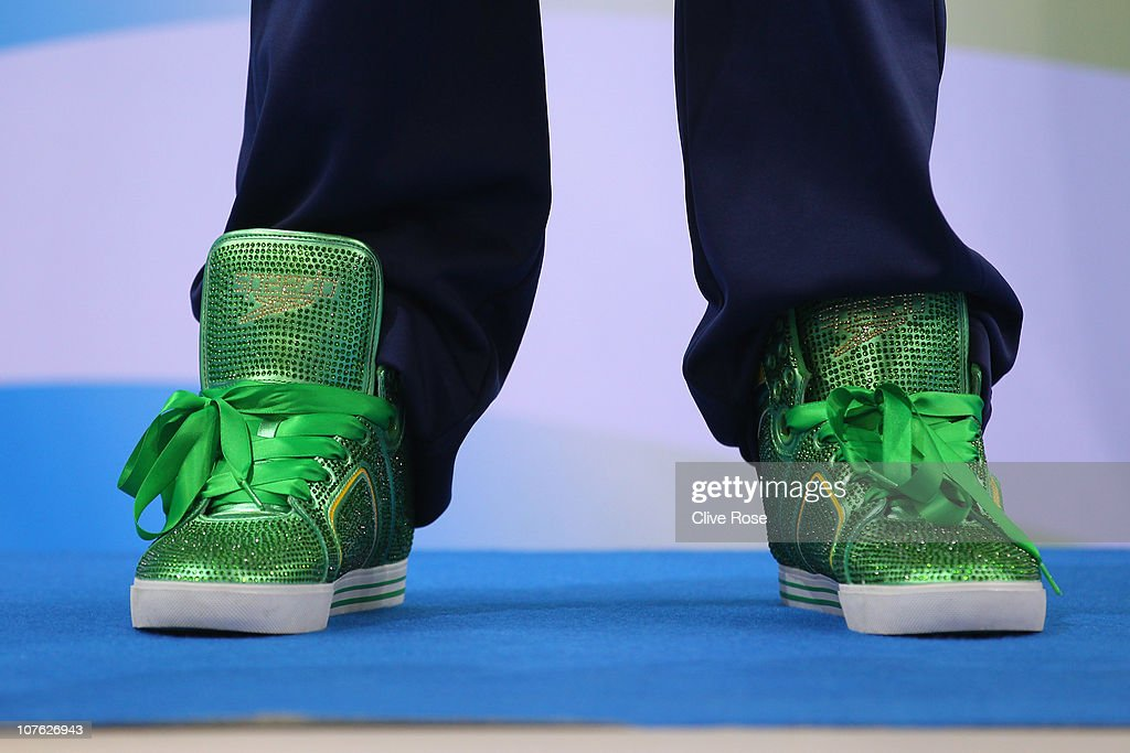 The shoes of Ryan Lochte of USA are seen on the podium after the Men's 200m Freestyle final on day one of the 10th FINA World Swimming Championships (25m) at the Hamdan bin Mohammed bin Rashid Sports Complex on December 15, 2010 in Dubai, United Arab Emirates.