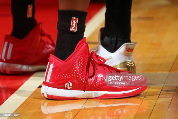 The shoes of Shatori WalkerKimbrough of the Washington Mystics during a WNBA game against the Connecticut Sun on August 29 2017 at the Verizon Center...