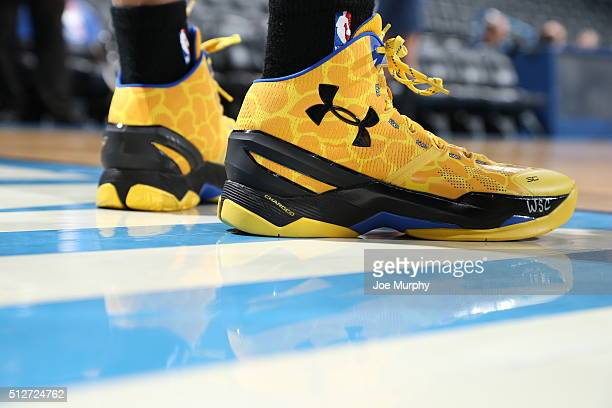 The shoes of Stephen Curry of the Golden State Warriors are seen before the game against the Oklahoma City Thunder on February 27 2016 at Chesapeake...