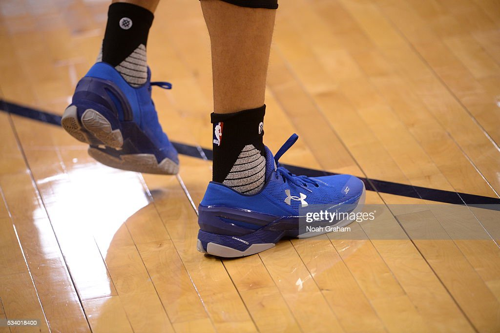 The shoes of <a gi-track='captionPersonalityLinkClicked' href=/galleries/search?phrase=Stephen+Curry+-+Jugador+de+baloncesto&family=editorial&specificpeople=5040623 ng-click='$event.stopPropagation()'>Stephen Curry</a> #30 of the Golden State Warriors are seen prior to Game Four of the Western Conference Finals between the Golden State Warriors and Oklahoma City Thunder during the 2016 NBA Playoffs on May 24, 2016 at Chesapeake Energy Arena in Oklahoma City, Oklahoma.