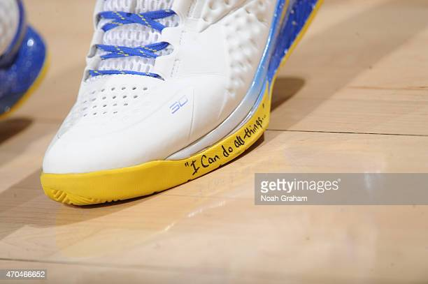 The shoes of Stephen Curry of the Golden State Warriors as he stands on the court during a game against the New Orleans Pelicans in Game One of the...