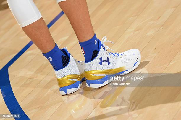The shoes of Stephen Curry of the Golden State Warriors before Game Two of the 2016 NBA Finals against the Cleveland Cavaliers on June 5 2016 at...