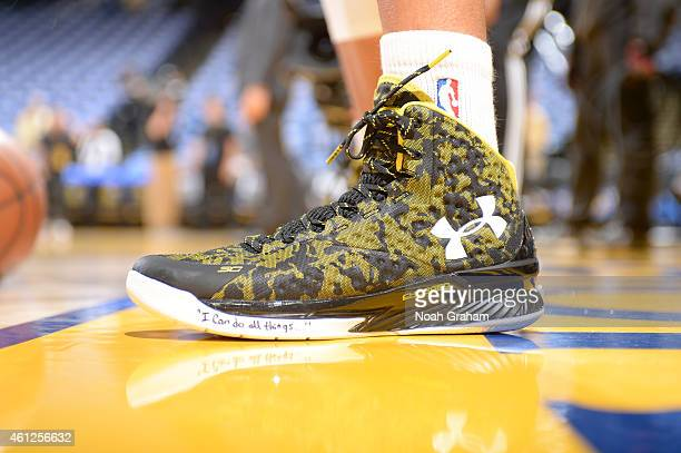 The shoes of Stephen Curry of the Golden State Warriors before the game against the Cleveland Cavaliers on January 9 2015 at Oracle Arena in Oakland...