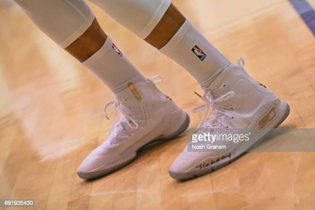 The shoes of Stephen Curry of the Golden State Warriors during practice and media availability as part of the 2017 NBA Finals on June 3 2017 at the...