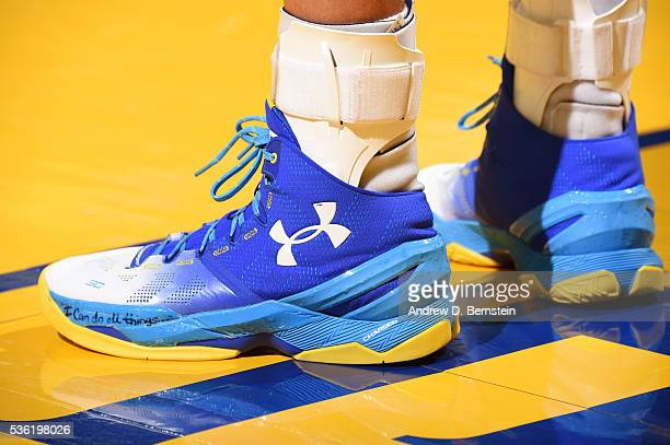 The shoes of Stephen Curry of the Golden State Warriors during Game Seven of the Western Conference Finals against the Oklahoma City Thunder during...