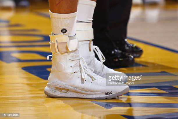 The shoes of Stephen Curry of the Golden State Warriors in Game One of the 2017 NBA Finals against the Cleveland Cavaliers on June 1 2017 at Oracle...