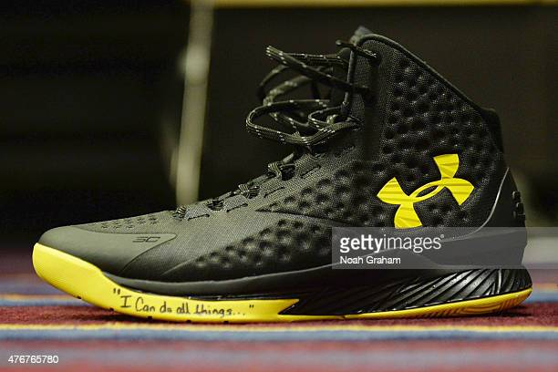 The shoes of Stephen Curry of the Golden State Warriors in the locker room before the game against the Cleveland Cavaliers in Game Four of the 2015...