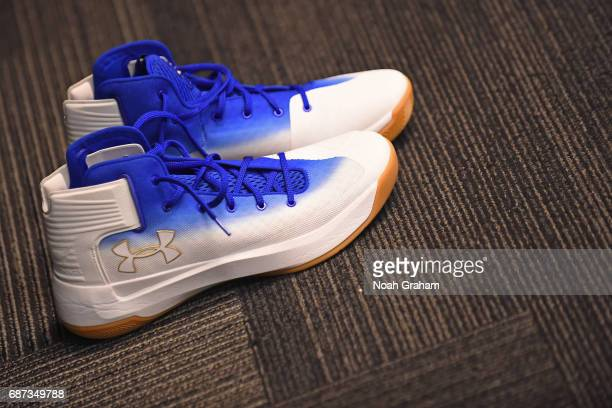 The shoes of Stephen Curry of the Golden State Warriors in the locker room before Game Four of the Western Conference Finals against the San Antonio...