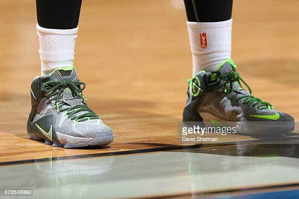 The shoes of Swin Cash of the New York Liberty are seen during the game against the Minnesota Lynx on June 1 2015 at Target Center in Minneapolis...
