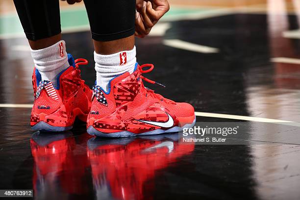 The shoes of Swin Cash of the New York Liberty as she stands on the court during a game against the New York Liberty on July 15 2015 at Madison...