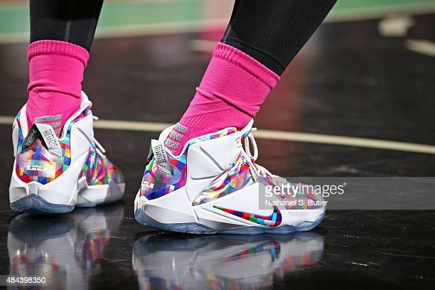 The shoes of Swin Cash of the New York Liberty during the game against the Chicago Sky on August 11 2015 at Madison Square Garden New York City New...