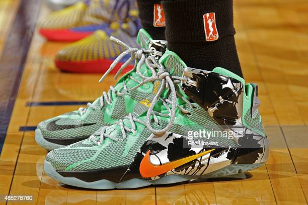 The shoes of Swin Cash of the New York Liberty during the game against the Indiana Fever at Bankers Life Fieldhouse on August 23 2015 in Indianapolis...