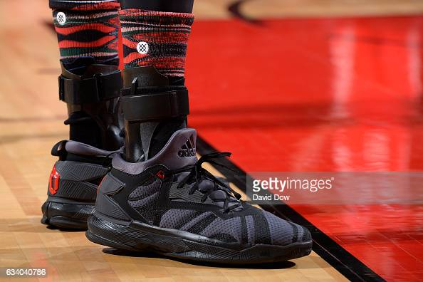 The shoes of Taj Gibson of the Chicago Bulls during the game against the Houston Rockets on February 3 2017 at the Toyota Center in Houston Texas...