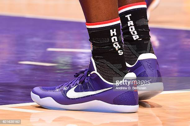 The shoes of Tarik Black of the Los Angeles Lakers during the game against the Golden State Warriors on November 4 2016 at STAPLES Center in Los...