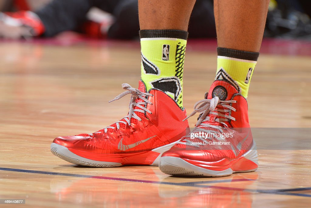 The shoes of Terrence Jones of Team Hill during the 2014 BBVA Compass Rising Stars Challenge at the Smoothie King Center on February 14, 2014 in New Orleans, Louisiana.