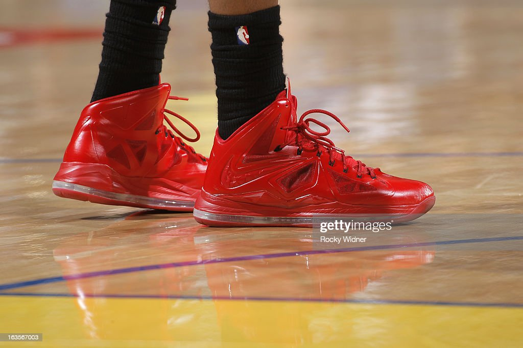 The shoes of <a gi-track='captionPersonalityLinkClicked' href=/galleries/search?phrase=Terrence+Ross&family=editorial&specificpeople=6781663 ng-click='$event.stopPropagation()'>Terrence Ross</a> #31 of the Toronto Raptors during a game against the Golden State Warriors on March 4, 2013 at Oracle Arena in Oakland, California.