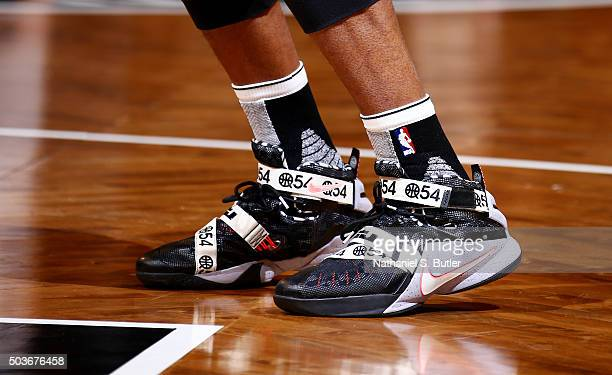 The shoes of Thaddeus Young of the Brooklyn Nets are seen during the game against the Toronto Raptors on January 6 2016 at Barclays Center in the...