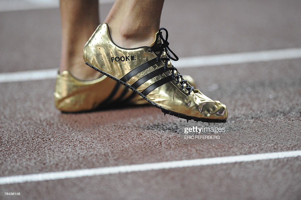The shoes of USA's Jeremy Wariner are pictured during the men's 400m final, 31 August 2007, at the 11th IAAF World Athletics Championships, in Osaka. USA's Jeremy Wariner won ahead of USA's LaShawn Meritt and USA's Angelo Taylor. AFP PHOTO / ERIC FEFERBERG