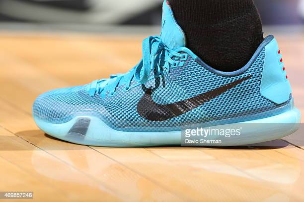 The shoes of Zach LaVine of the Minnesota Timberwolves as he stands on the court during a game against the Oklahoma City Thunder on April 15 2015 at...