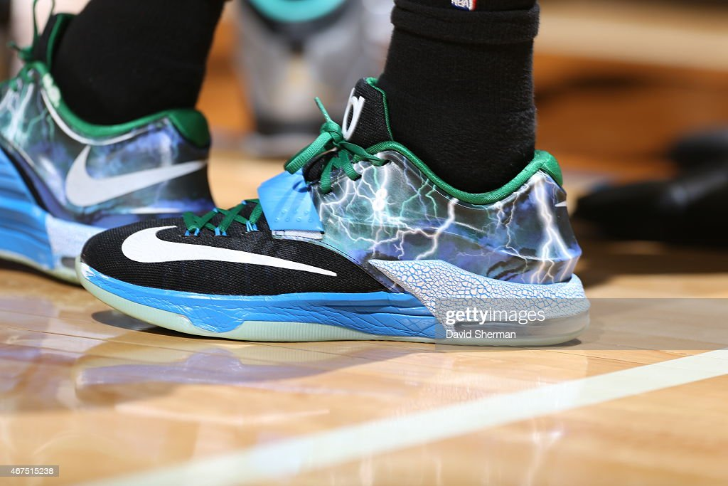 The shoes of Zach LaVine 8 of the Minnesota Timberwolves during the