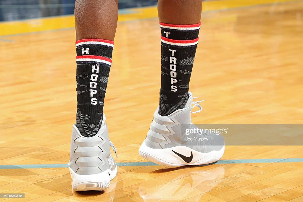 The shoes of Zach Randolph #50 of the Memphis Grizzlies during the game against the Portland Trail Blazers on November 6, 2016 at FedExForum in Memphis, Tennessee.