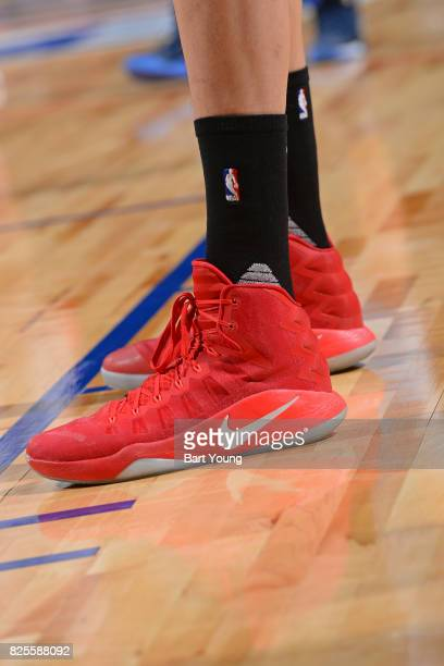 The shoes of Zhou Qi of the Houston Rockets during the 2017 Summer League game against the Denver Nuggets on July 12 2017 at the Thomas Mack Center...