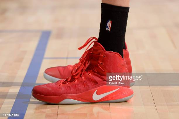 The shoes of Zhou Qi of the Houston Rockets in a game against the Denver Nuggets during the 2017 Las Vegas Summer League on July 7 2017 at the Cox...