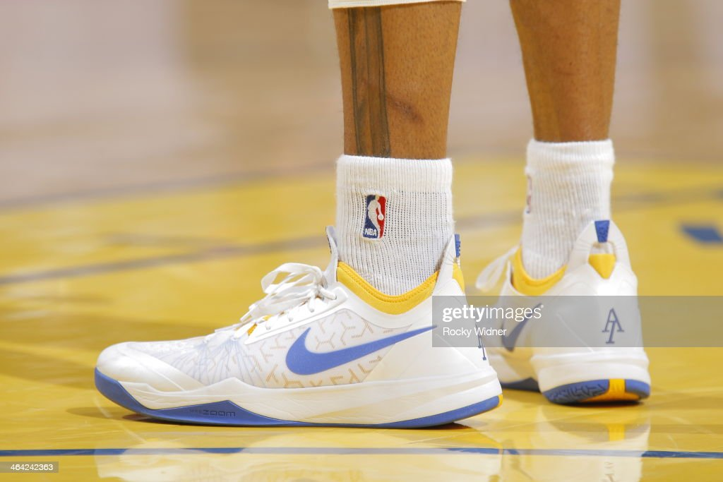 The shoes worn by <a gi-track='captionPersonalityLinkClicked' href=/galleries/search?phrase=Andre+Iguodala&family=editorial&specificpeople=201980 ng-click='$event.stopPropagation()'>Andre Iguodala</a> #9 of the Golden State Warriors during a game against the Denver Nuggets on January 15, 2014 at Oracle Arena in Oakland, California.