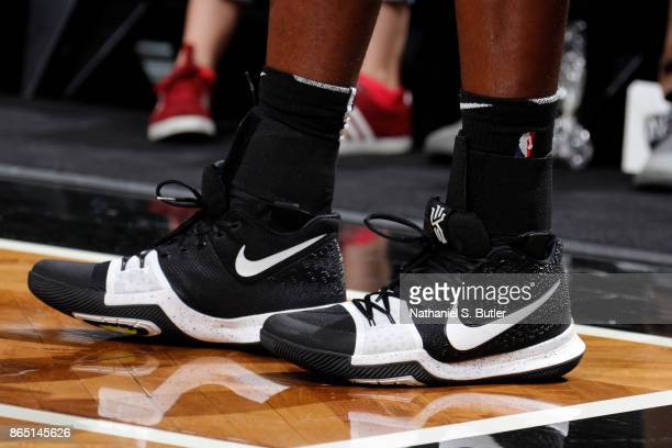 the shoes worn by Caris LeVert of the Brooklyn Nets are seen during the game against the Atlanta Hawks on October 22 2017 at Barclays Center in...