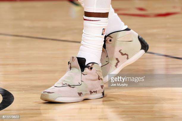 the shoes worn by Jeff Green of the Cleveland Cavaliers are seen prior to the game against the Houston Rockets on November 9 2017 at Toyota Center in...